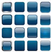 Icônes app bleu foncé carré. — Vecteur