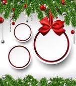 Boże Narodzenie tło z oddziałów jodła i kulki. — Wektor stockowy