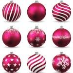 Set of realistic magenta christmas balls. — Stock Vector #36306231