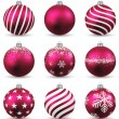 Set of realistic magenta christmas balls. — 图库矢量图片