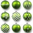 Set of realistic green christmas balls. — 图库矢量图片