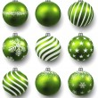 Set of realistic green christmas balls. — Stock Vector