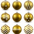 Set of realistic golden christmas balls. — Stock Vector