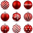 Set of realistic red christmas balls. — Stock Vector