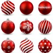 Set of realistic red christmas balls. — Stock Vector #36306263