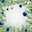 Christmas background with fir branches and balls. — Vektorgrafik
