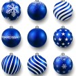 Set of realistic blue christmas balls. — Stock Vector