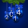 Realistic blue christmas balls with 2014. — Stock Vector