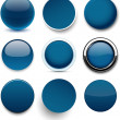 Round dark blue icons. — Stock Vector