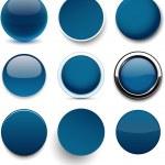 Round dark blue icons. — Stock Vector