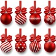 Set of realistic red christmas balls. — 图库矢量图片
