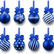 Set of realistic blue christmas balls. — 图库矢量图片