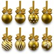 Set of realistic golden christmas balls. — 图库矢量图片