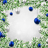 Christmas background with fir branches and balls. — Stockvector