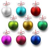 Conjunto de bolas de Natal realista. — Vetor de Stock