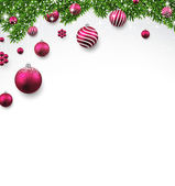 Christmas background with fir branches and balls. — Stock Vector
