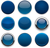 Dark-blue round modern web buttons. — Stock Vector