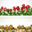 Christmas banners with fir branches gift boxes. — Stock Vector #37106455