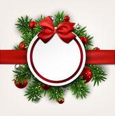 Vita runda papper julkort med rosett. — Stockvektor