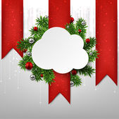 White cloud paper christmas card. — 图库矢量图片