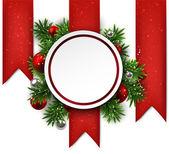 Bílé kulaté papírové vánoční přání. — Stock vektor