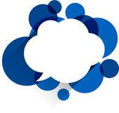 White paper cloud over blue bubbles. — Stock Vector
