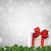 Christmas background with fir branches gift box. — Vector de stock
