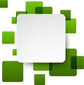 White paper label over green bubbles. — Stok Vektör