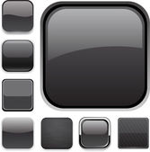 Zwarte vierkante knoppen — Stockvector