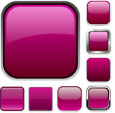 Blank magenta square buttons — Stock Vector