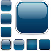 Dark blue square buttons — Vettoriale Stock