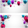 Celebrate banners with balloons. — Stock Vector #48096349