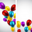 Celebrate banners with balloons. — Stock Vector #48096381