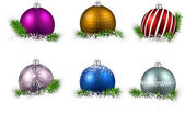 Christmas balls on snow — Stock Vector