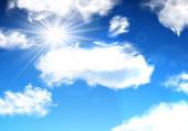 Cielo azul con nubes. — Vector de stock