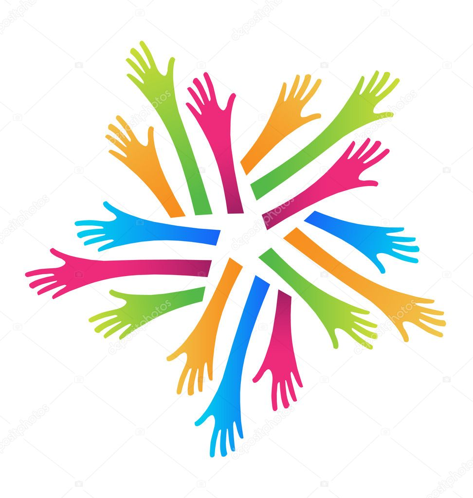 Group of arms and hands in different colors — Stock Vector #14092554