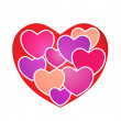 Hearts on Heart — Stock Vector