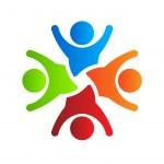 Happy party team 4 logo design element Vector — Stock Vector