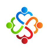 Team Heart 4 design logo element Vector — Stock Vector