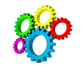 3D colorful gears — Stockfoto