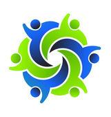социальный дизайн логотипа 6 друзей — Cтоковый вектор