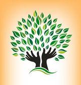 Praying Tree Logo — Stock Vector