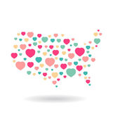 USA pattern hearts map — Stock Vector