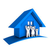 3D Blue House with Family — Stock Photo