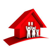 3D Red House with Family — Stock Photo