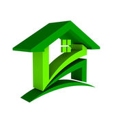 3D Green House Logo — Stock Photo