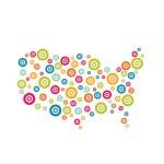 Vector Logo USA Target map — Stock Vector