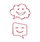 Logo bulutlar gülümseyerek mutlu — Stok Vektör