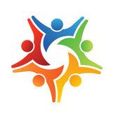 Vector Logo Teamwork Achieve 5 — Stock Vector