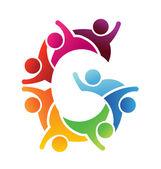 Vector Logo Teamwork People letter G — Stock Vector